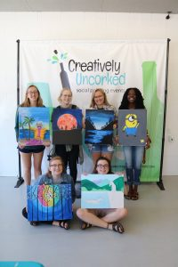 Canvas painting at Open Studio at Creatively Uncorked