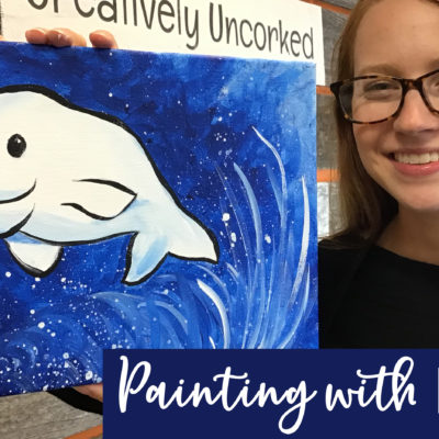 Baby Beluga On Demand Painting Workshop by Creatively Uncorked https://creativelyuncorked.com/