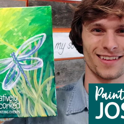 Blue Dragonfly On Demand Painting Workshop by Creatively Uncorked https://creativelyuncorked.com/