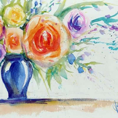 Blue Vase in Watercolor at Creatively Uncorked https://creativelyuncorked.com