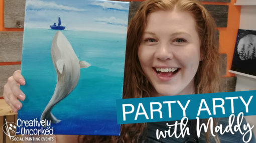 Boat and Whale On Demand Painting Workshop by Creatively Uncorked https://creativelyuncorked.com/