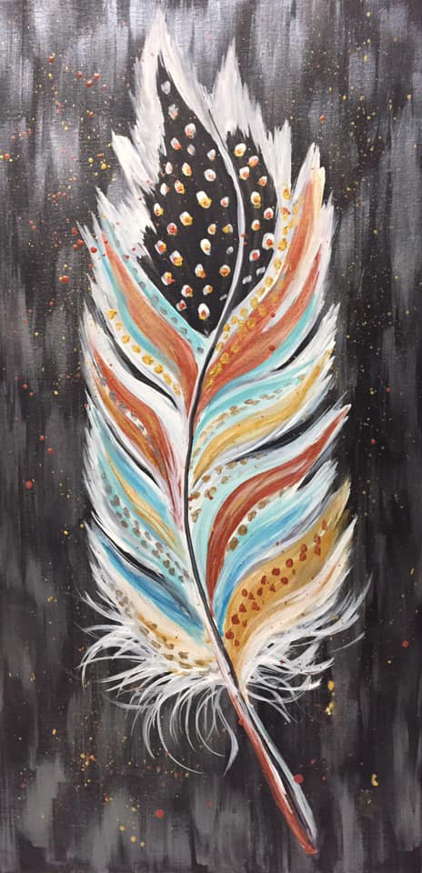 Boho Feather at Creatively Uncorked https://creativelyuncorked.com/