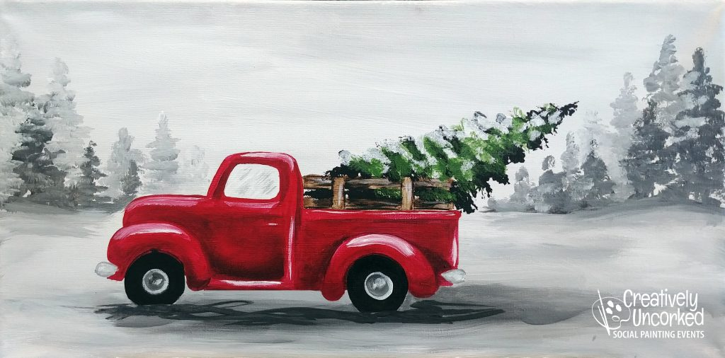 Bringing Home the Christmas Tree in a Red Truck at Creatively Uncorked https://creativelyuncorked.com/