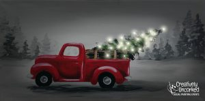 Bringing Home the Tree with lights at Creatively Uncorked https://creativelyuncorked.com/
