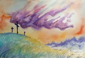 Three Crosses in Watercolor at Creatively Uncorked https://creativelyuncorked.com/