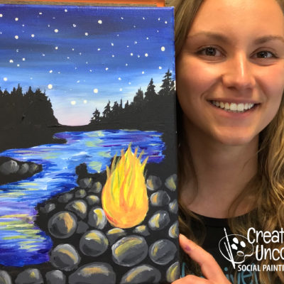 Camping Under the Stars On Demand Painting Workshop by Creatively Uncorked https://creativelyuncorked.com/