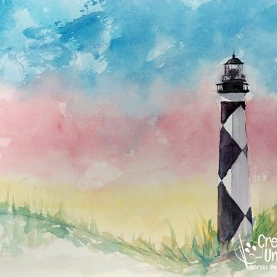 Cape Lookout in Watercolor at Creatively Uncorked https://creativelyuncorked.com
