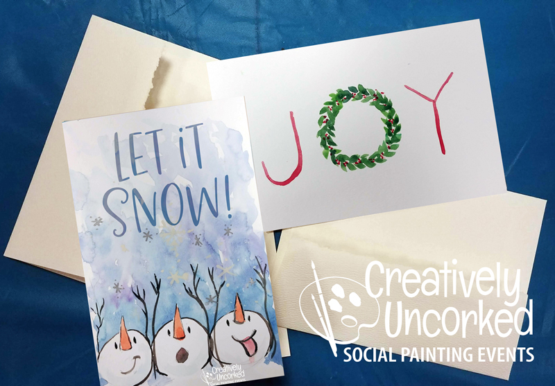 Christmas Cards in Watercolor at Creatively Uncorked https://creativelyuncorked.com/