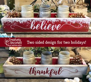 Christmas Centerpiece Box 2 sided at Creatively Uncorked https://creativelyuncorked.com/