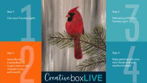 December Cardinal CBL with CreativeBoxLIVE from Creatively Uncorked https://creativelyuncorked.com/