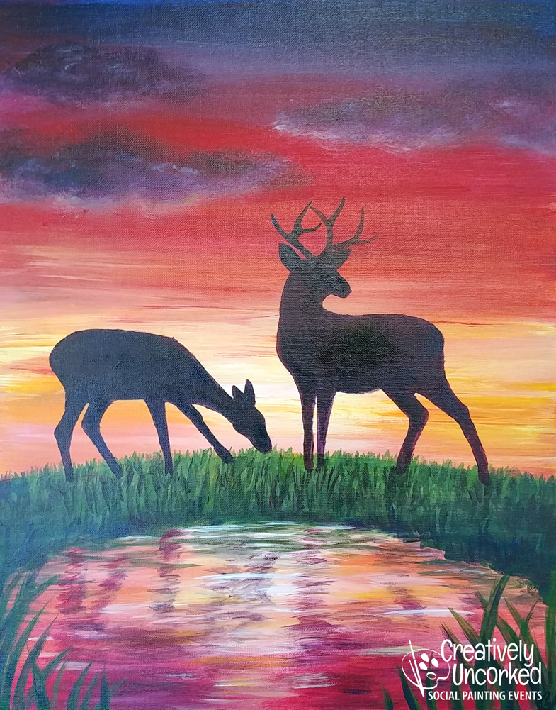 Deer at Sunset from Creatively Uncorked https://creativelyuncorked.com/