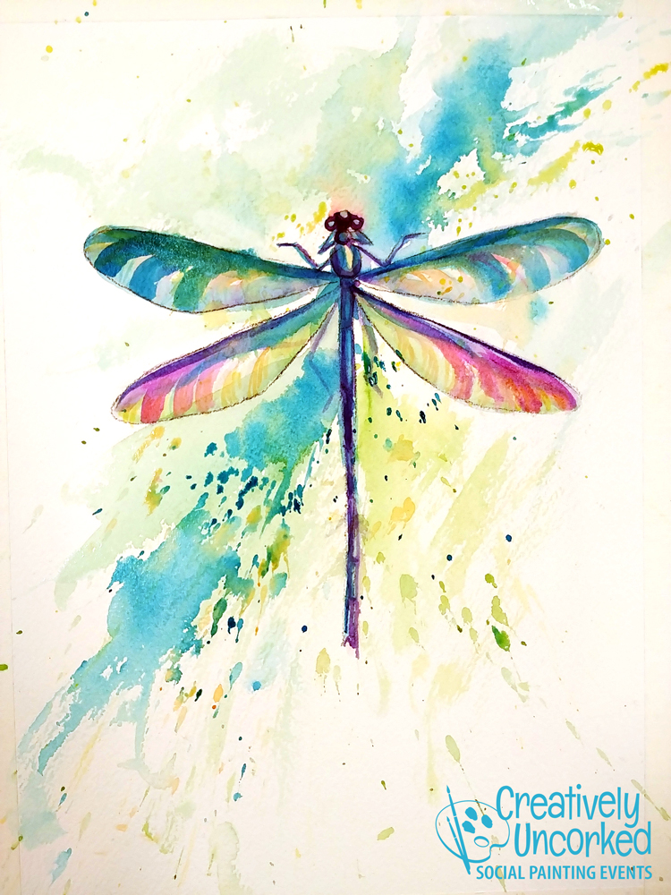 Dragonfly in Watercolor at Creatively Uncorked https://creativelyuncorked.com/