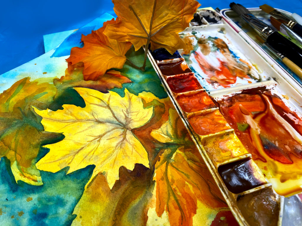 Fall Watercolor Maple Leaf