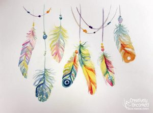 Feathers in Watercolor at Creatively Uncorked https://creativelyuncorked.com/