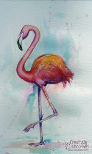 Flamingo in Watercolor at Creatively Uncorked https://creativelyuncorked.com