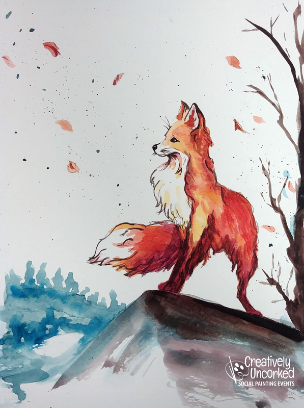 Fox in Watercolor at Creatively Uncorked https://creativelyuncorked.com/