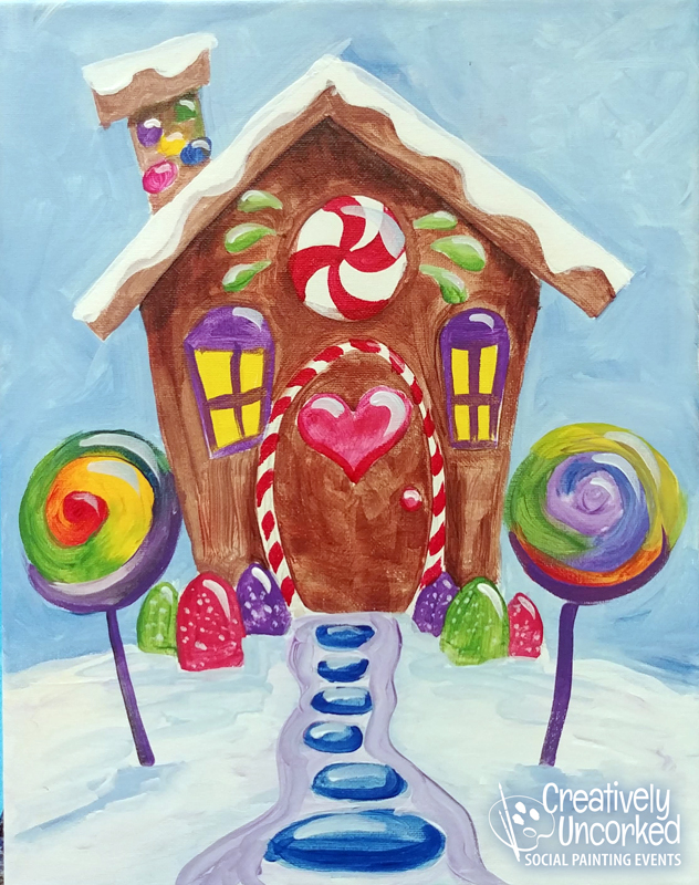 Gingerbread House at Creatively Uncorked https://creativelyuncorked.com/