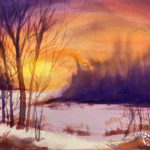 Glowing Skies in Watercolor at Creatively Uncorked https://creativelyuncorked.com