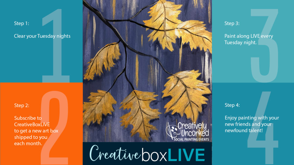 Golden Leaves from CreativeBoxLIVE by Creatively Uncorked https://creativelyuncorked.com/