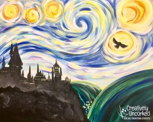 HP Starry Night Over Hogwarts at Creatively Uncorked https://creativelyuncorked.com/