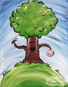 Happy Tree at Creatively Uncorked https://creativelyuncorked.com/