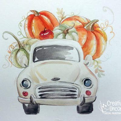 Harvest Truck in Watercolor at Creatively Uncorked https://creativelyuncorked.com/