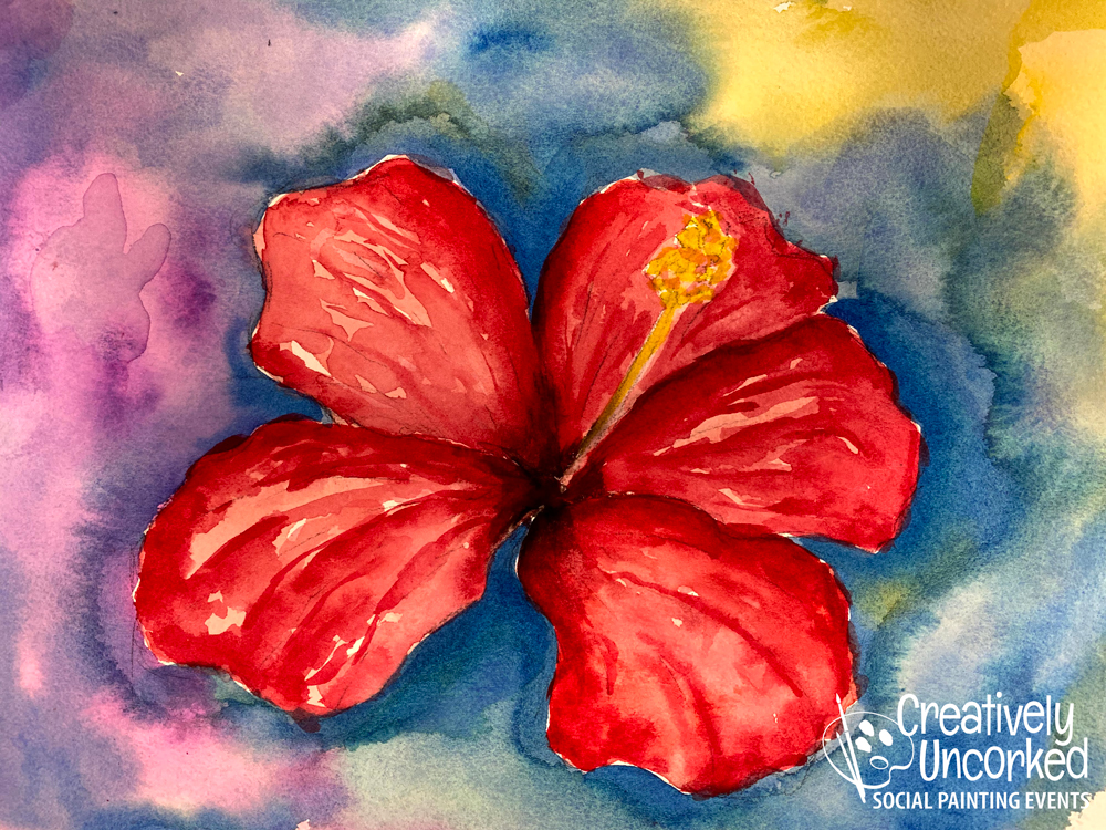 Hibiscus in Watercolor at Creatively Uncorked https://creativelyuncorked.com