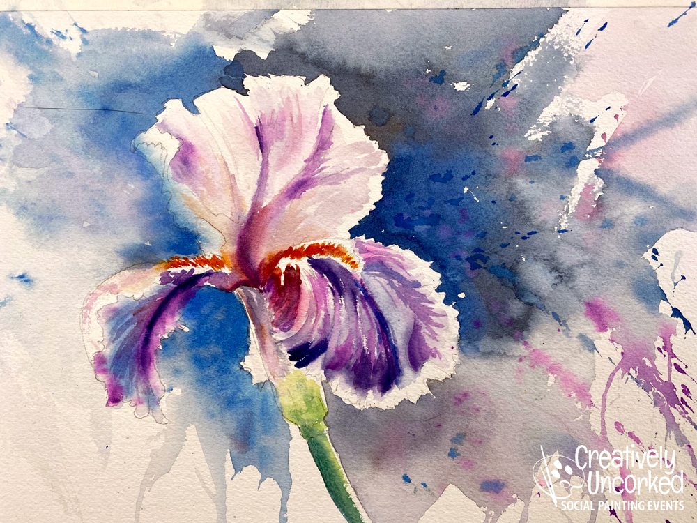 Iris in Watercolor at Creatively Uncorked https://creativelyuncorked.com/