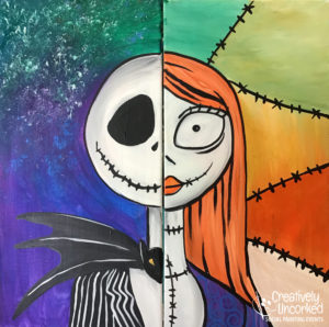 Jack and Sally Partner Paint at Creatively Uncorked https://creativelyuncorked.com/