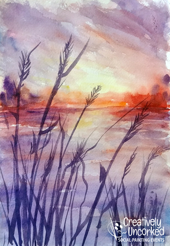 Late Summer Sun in Watercolor at Creatively Uncorked https://creativelyuncorked.com