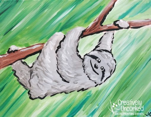 Lazy Sloth at Creatively Uncorked https://creativelyuncorked.com/