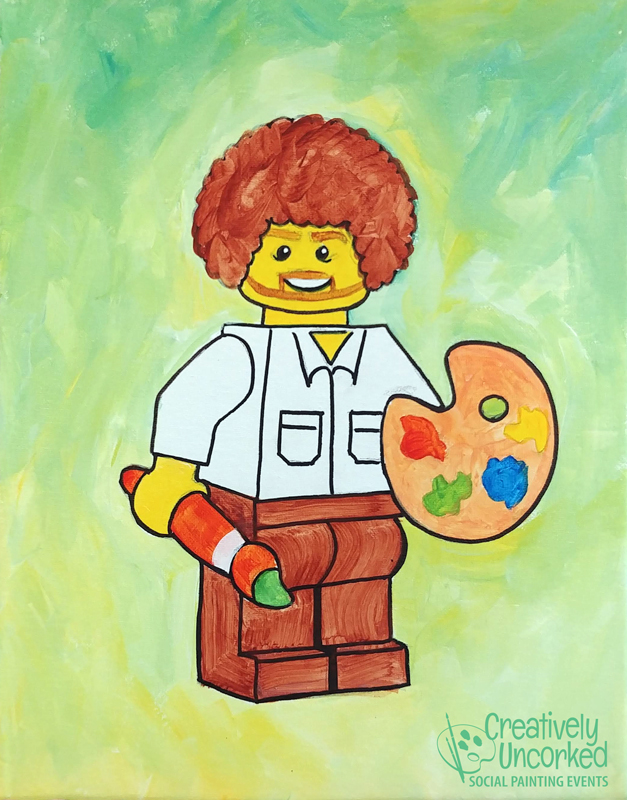 Lego Bob Ross at Creatively Uncorked https://creativelyuncorked.com