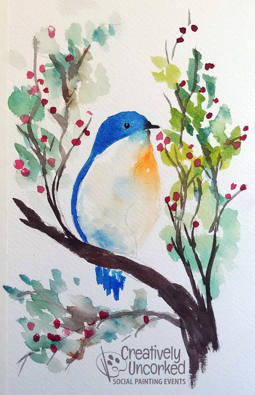 Little Bird Blue in Watercolor at Creatively Uncorked https://creativelyuncorked.com/