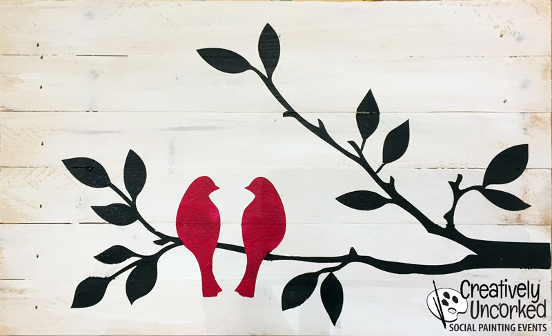 Love Birds Wood Sign 15x9