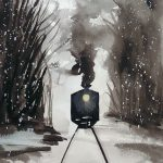 Midnight Train in Watercolor at Creatively Uncorked https://creativelyuncorked.com