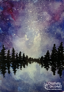 Milky Way Reflection watercolor at Creatively Uncorked https://creativelyuncorked.com/