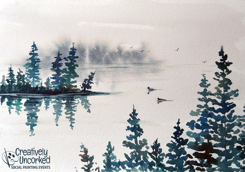 Misty Lake in Watercolor at Creatively Uncorked https://creativelyuncorked.com/