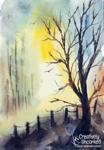 Morning Tree watercolor at Creatively Uncorked https://creativelyuncorked.com/