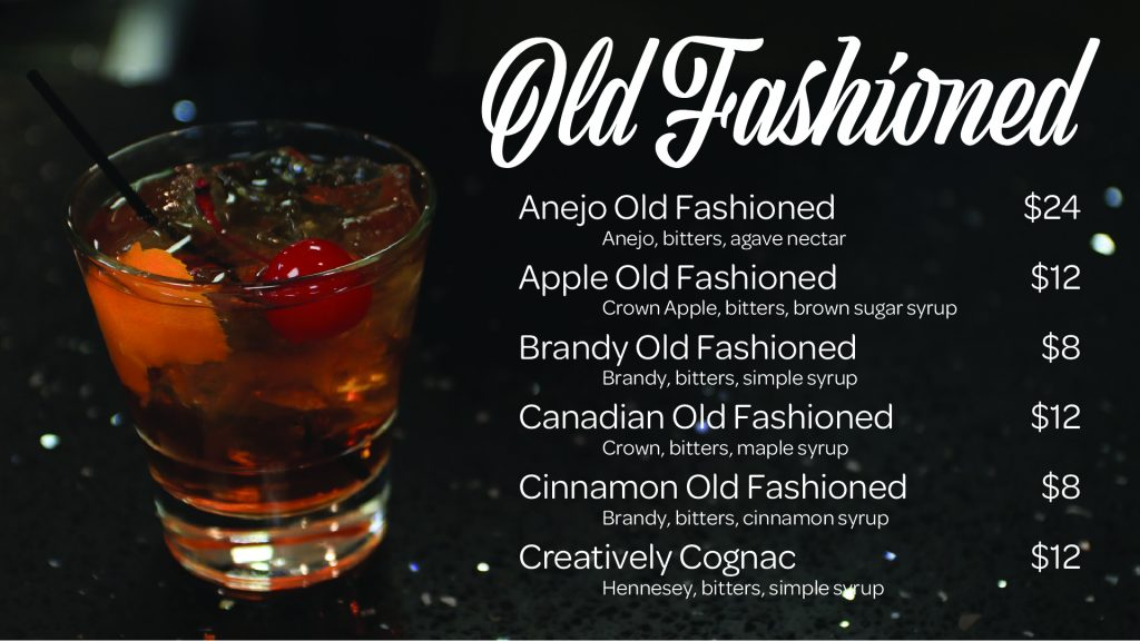 Old Fashioned menu at Creatively Uncorked