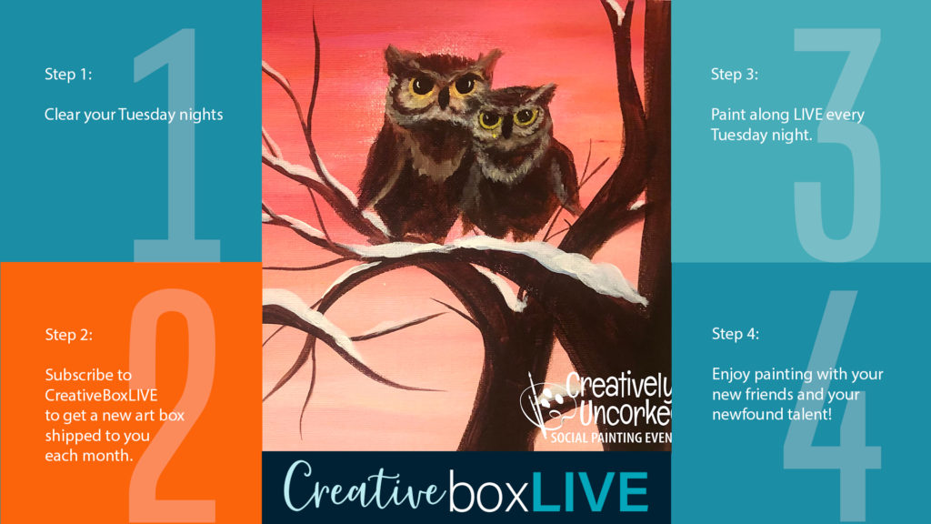 Owls at Dusk CBL with CreativeBoxLIVE from Creatively Uncorked https://creativelyuncorked.com/
