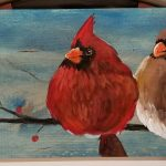 Pair of Cardinals on wood