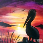 Pelican Sunset at Creatively Uncorked https://creativelyuncorked.com