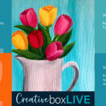 Pitcher of Flowers CBL with CreativeBoxLIVE from Creatively Uncorked https://creativelyuncorked.com/