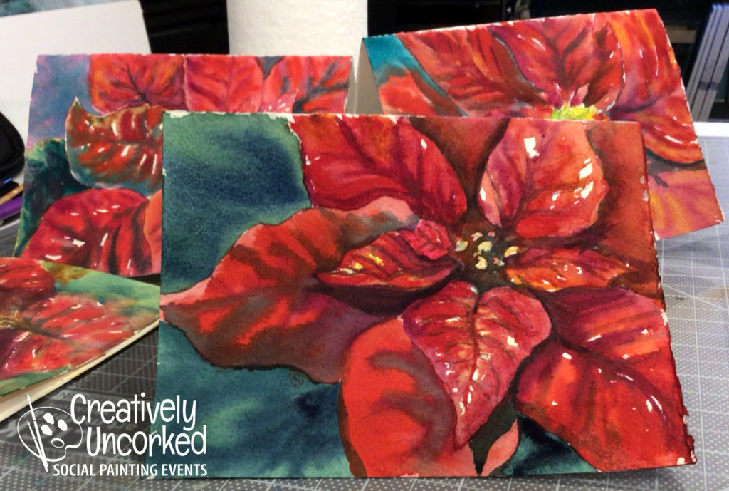 Poinsettia Holiday Cards by Creatively Uncorked https://creativelyuncorked.com/