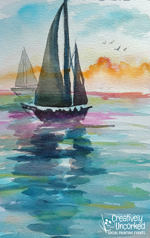 Sailboats in Watercolor at Creatively Uncorked https://creativelyuncorked.com
