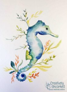 Seahorse in Watercolor at Creatively Uncorked https://creativelyuncorked.com/