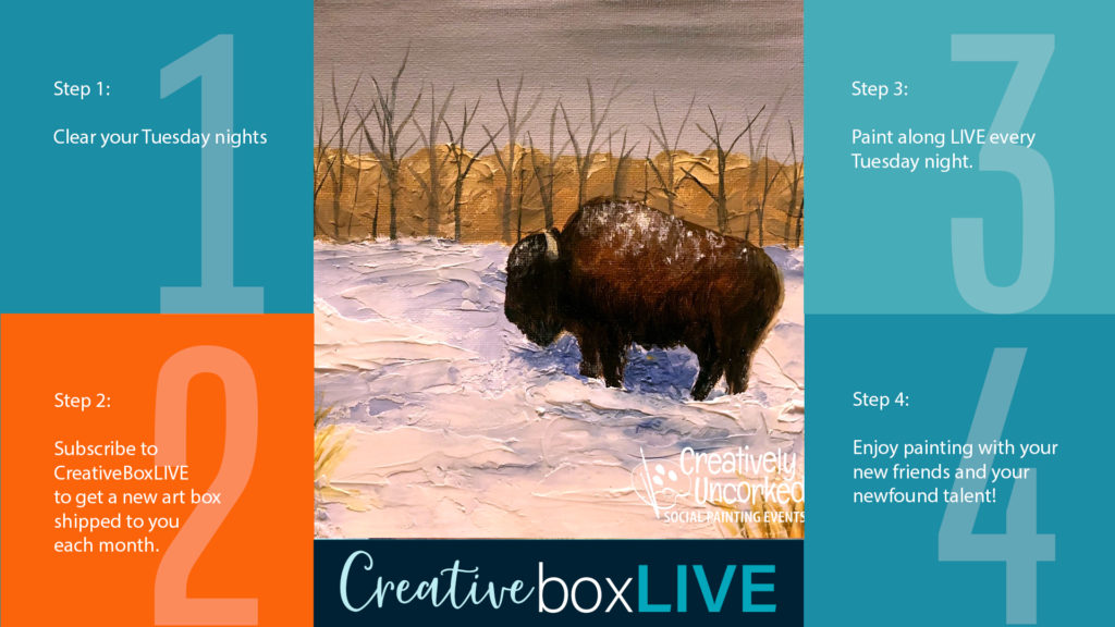 Snowy Bison CBL with CreativeBoxLIVE from Creatively Uncorked https://creativelyuncorked.com/