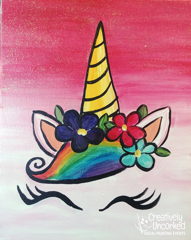 Sparkle Face Unicorn at Creatively Uncorked https://creativelyuncorked.com/