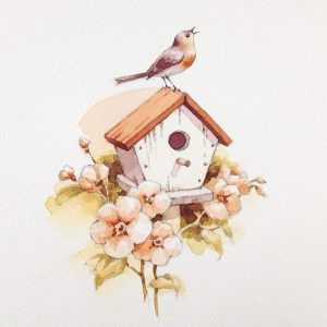 Watercolor Birdhouse