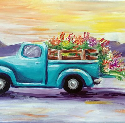 Summer Truck Flower Delivery at Creatively Uncorked https://creativelyuncorked.com/